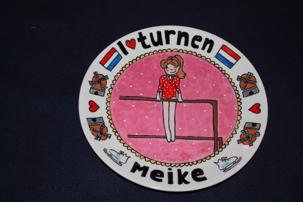 Handgeschilderd bord I love turnen