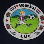 Handgeschilderd bord I love voetbal