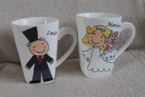 handgeschilderde mokken voor trouwen