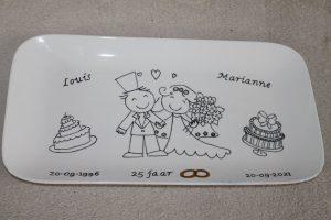 handgeschilderd cadeau 25 jaar getrouwd
