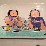 Handgeschilderd bordje dikke dames