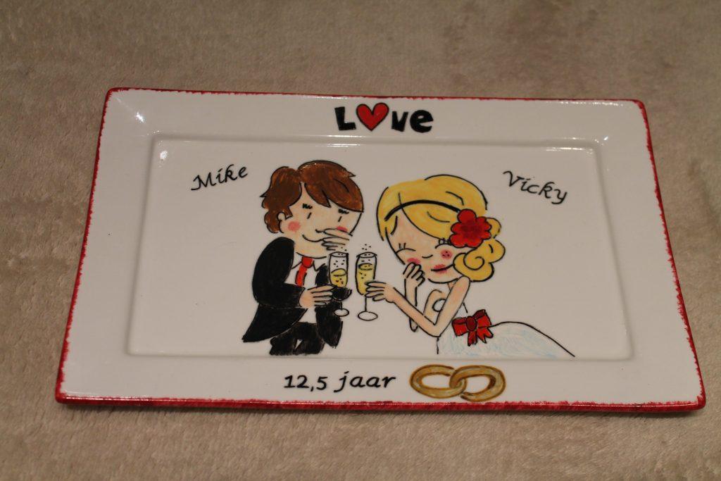 Handgeschilderd bord 12,5 jaar getrouwd door KreaDiva