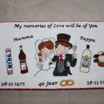 Handgeschilderd bord 40 jaar getrouwd