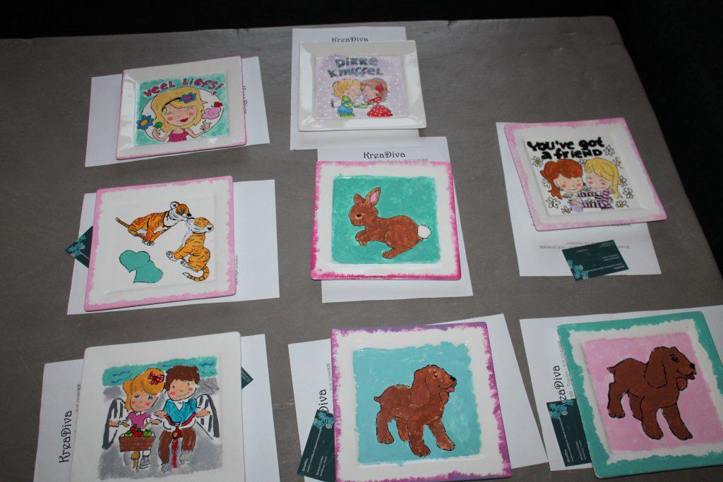 Kinderfeest workshop servies beschilderen bij KreaDiva