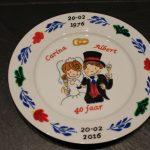 Hendgeschilderd bord boerenbond met 40 jarig huwelijk