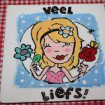 kinderfeest servies beschilderen op vierkant bordje