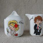 handgeschilderd suiker en melk stel voor huwelijk