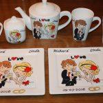 Handgeschilderd servies Huwelijk door KreaDiva