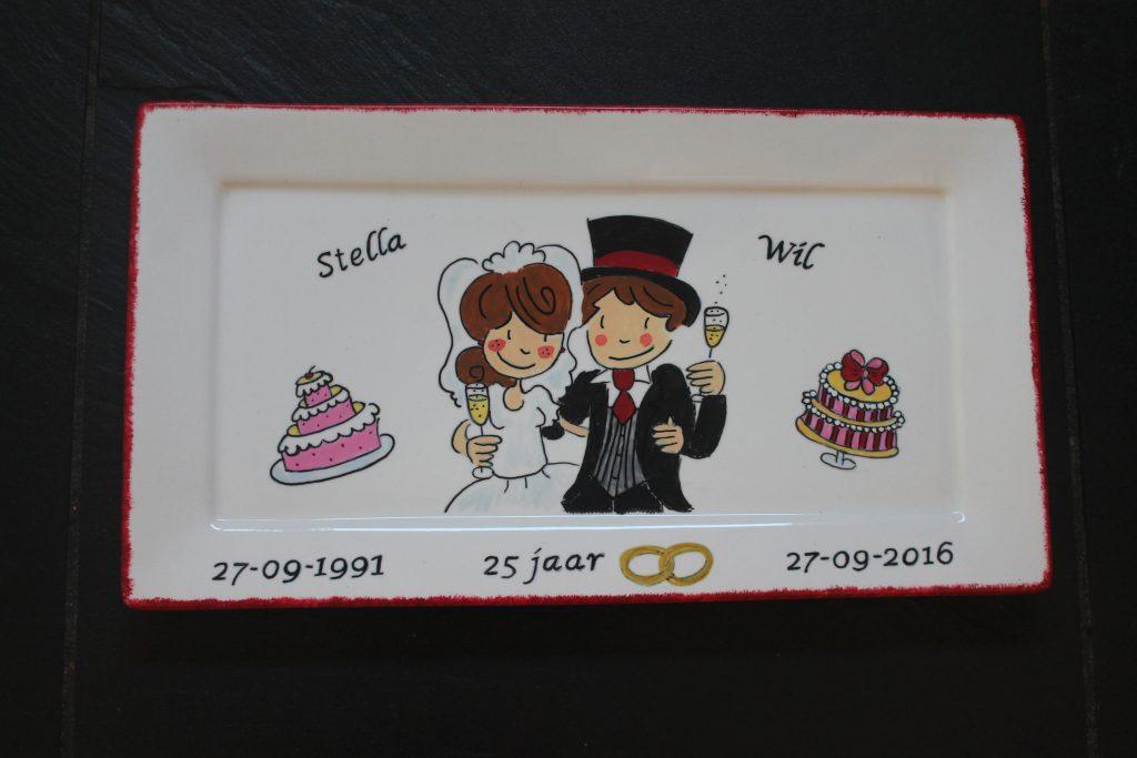 Handgeschilderd bord 25 jaar getrouwd door KreaDiva