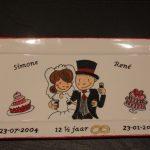 Handgeschlderd bord12,5 jaar getrouwd door KreaDiva