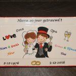 Handgeschilderd borde 40 jaar getrouwd door KreaDiva