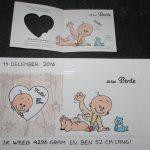 Handgeschilderd geboortekaartje op bord door KreaDiva