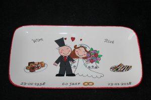 Handgeschilderd bord cadeau voor 60 jarig huwelijk...