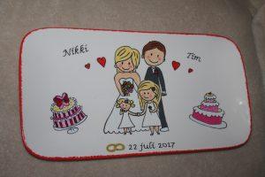 Handgeschilderd bord voor huwelijk (met bruidsmeisjes)