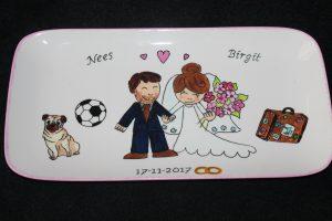 Handgeschilderd bord voor huwelijk (met aparte details)